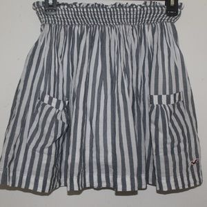 Hollister White & Grey Striped 100%Cotton Skirt XS